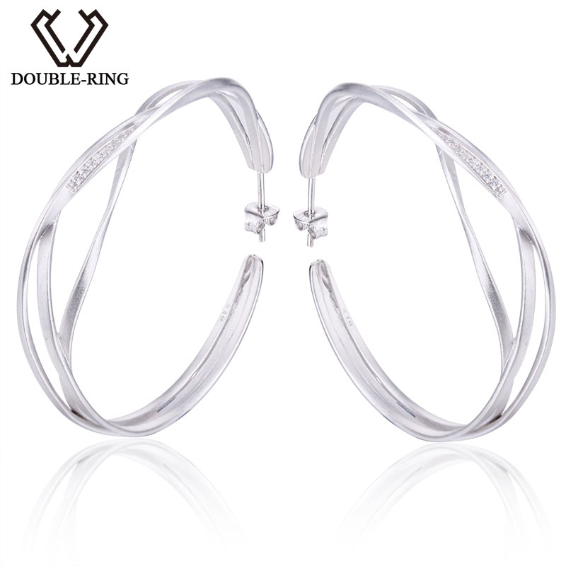 Double-r Big Earrings Women 925 Sterling Silver Round Hoop Earrings Trendy Party Girls Real Fine Jewelry Customized Cae01509sa-1