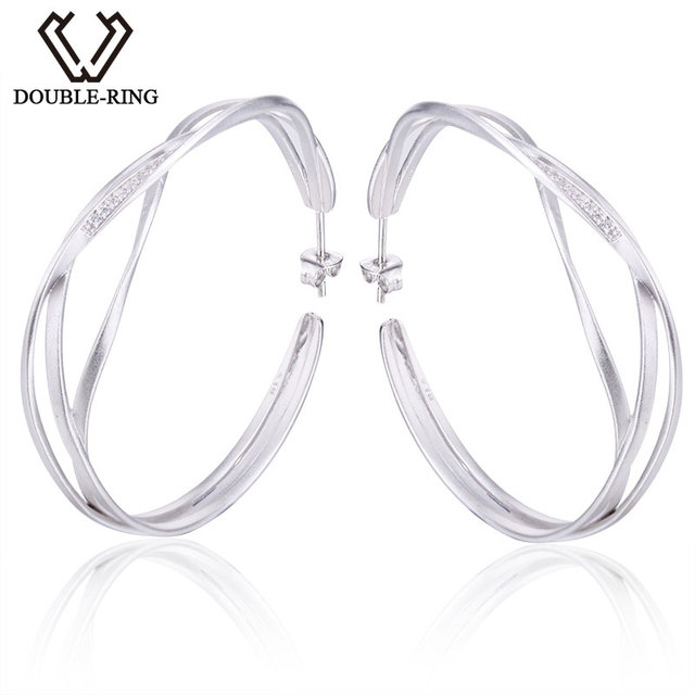 Double R Earrings Women 925 Sterling Silver Round Hoop Trendy Party S Real