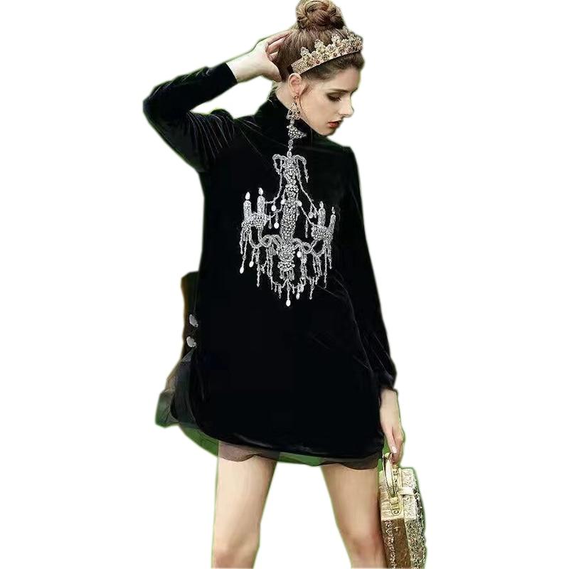 Luxurious Design Women Elegant Spring Long Sleeve Stand Collar Slim Straight Casual Dresses Vintage Velvet Beading