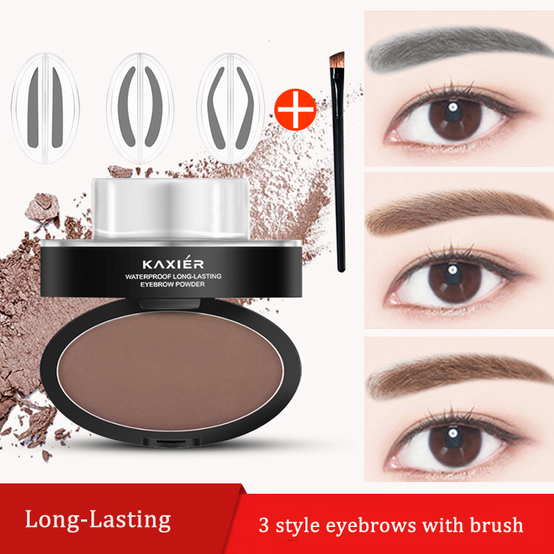 KAXIER 3 Color Beauty Eyebrow Stamp Set Brow Make Up Shape Seal Brush Natural Waterproof Eyebrows Powder Lasting Tint