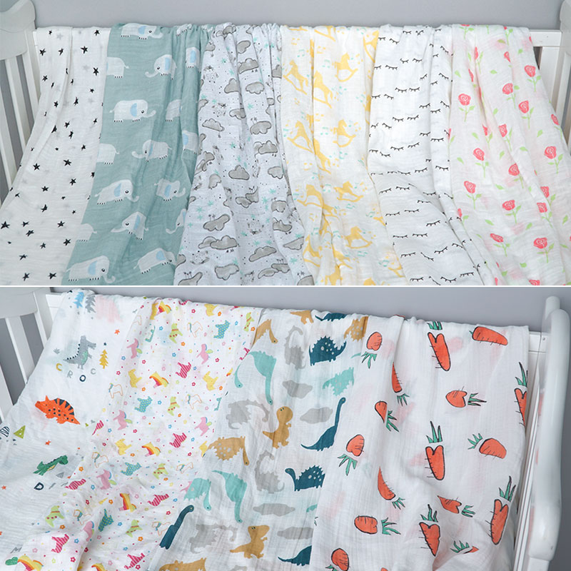 Cotton Baby Blankets Newborn Photography Prop Printed Infantil Baby Boy Baby Girl Sleep Swaddle Muslin Diapers Baby Accessories