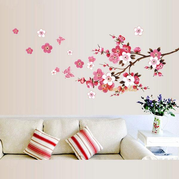 blossoming flower stem diy wall sticker room decoration butterfly