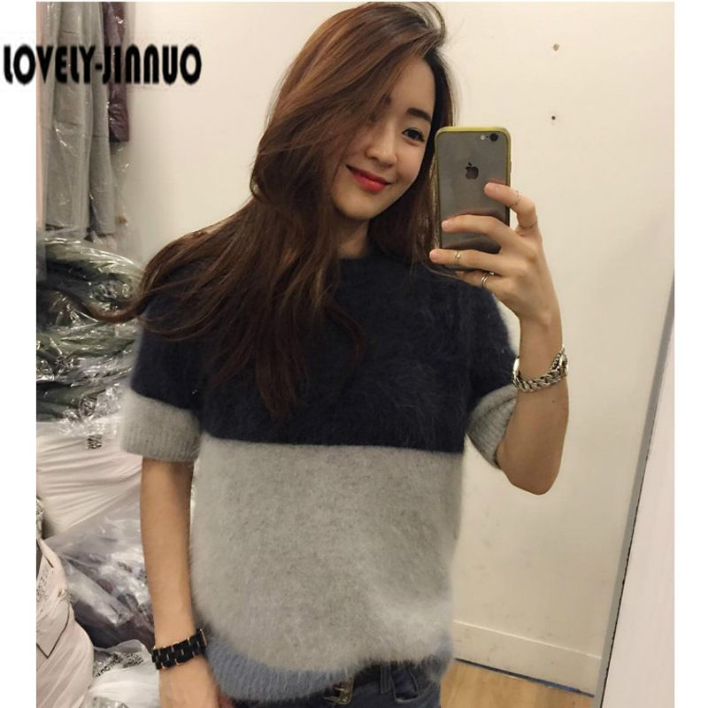 2019 simple Korean hit color mosaic Plush mink cashmere thickened short sleeved sweater Free Shipping JN320