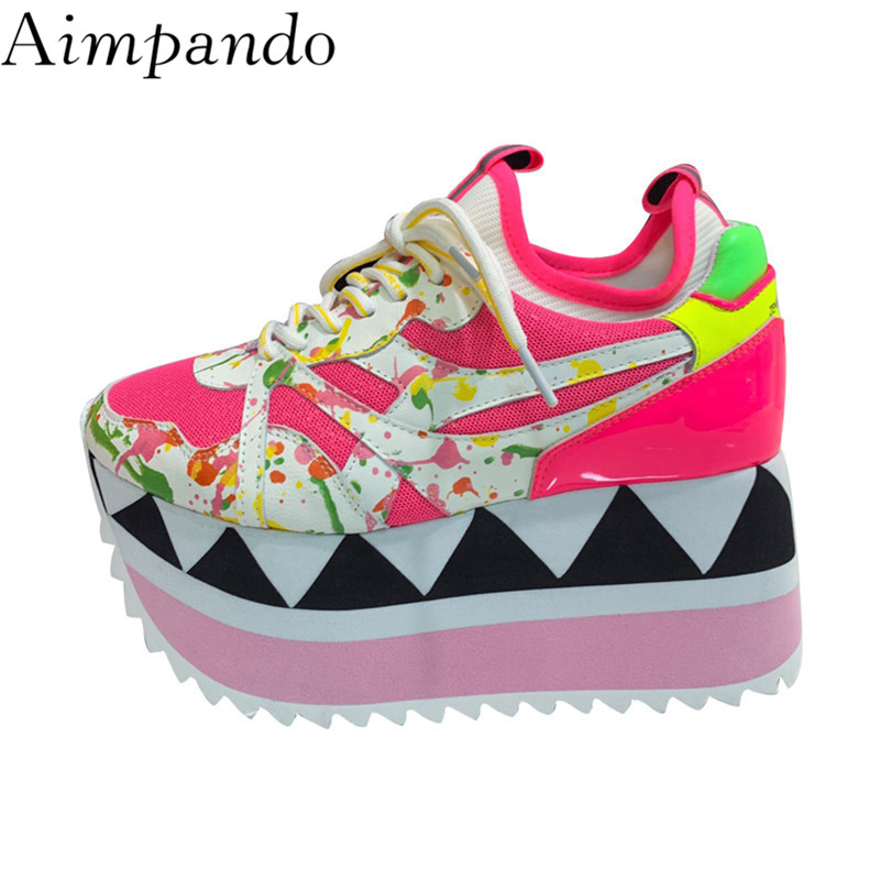 New Spring Mixed Color Thick Bottom Sneakers Women Cross tied Graffitti High Increasing Flatform Shoes Air Mesh Casual Shoes-in Women's Flats from Shoes    1