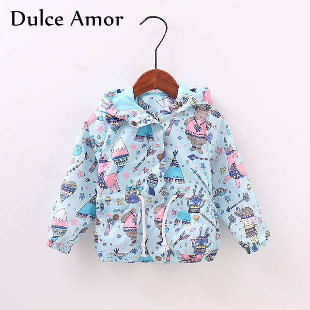 competitive price feb79 86824 US $11.59 25% OFF|Dulce Amor Herbst Kinder Mantel Mode Jacke Kinder Cartoon  Graffiti Mit Kapuze Windjacke Jungen Mädchen Taille Kordelzug ...