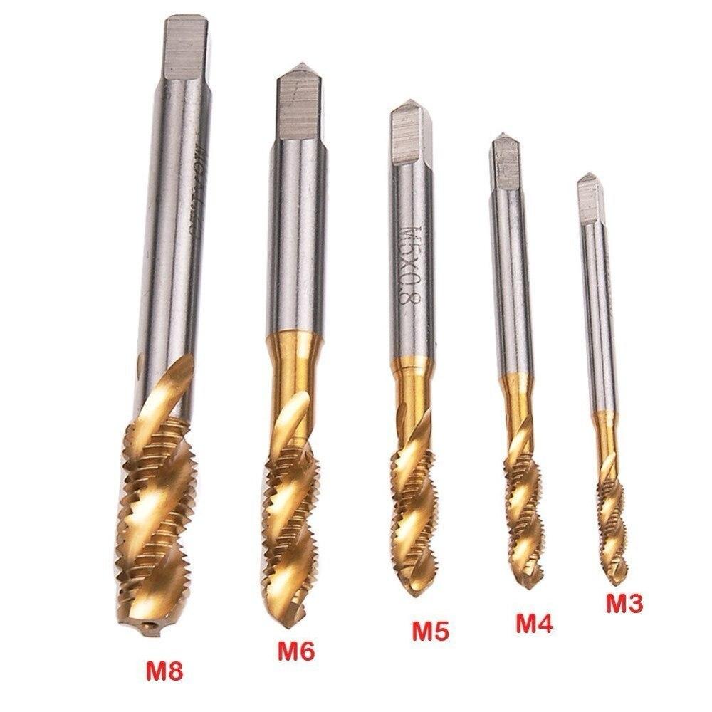 2pcs M5*0.8mm HSS Nitriding treatment Black Machine Spiral Screw Tap tool
