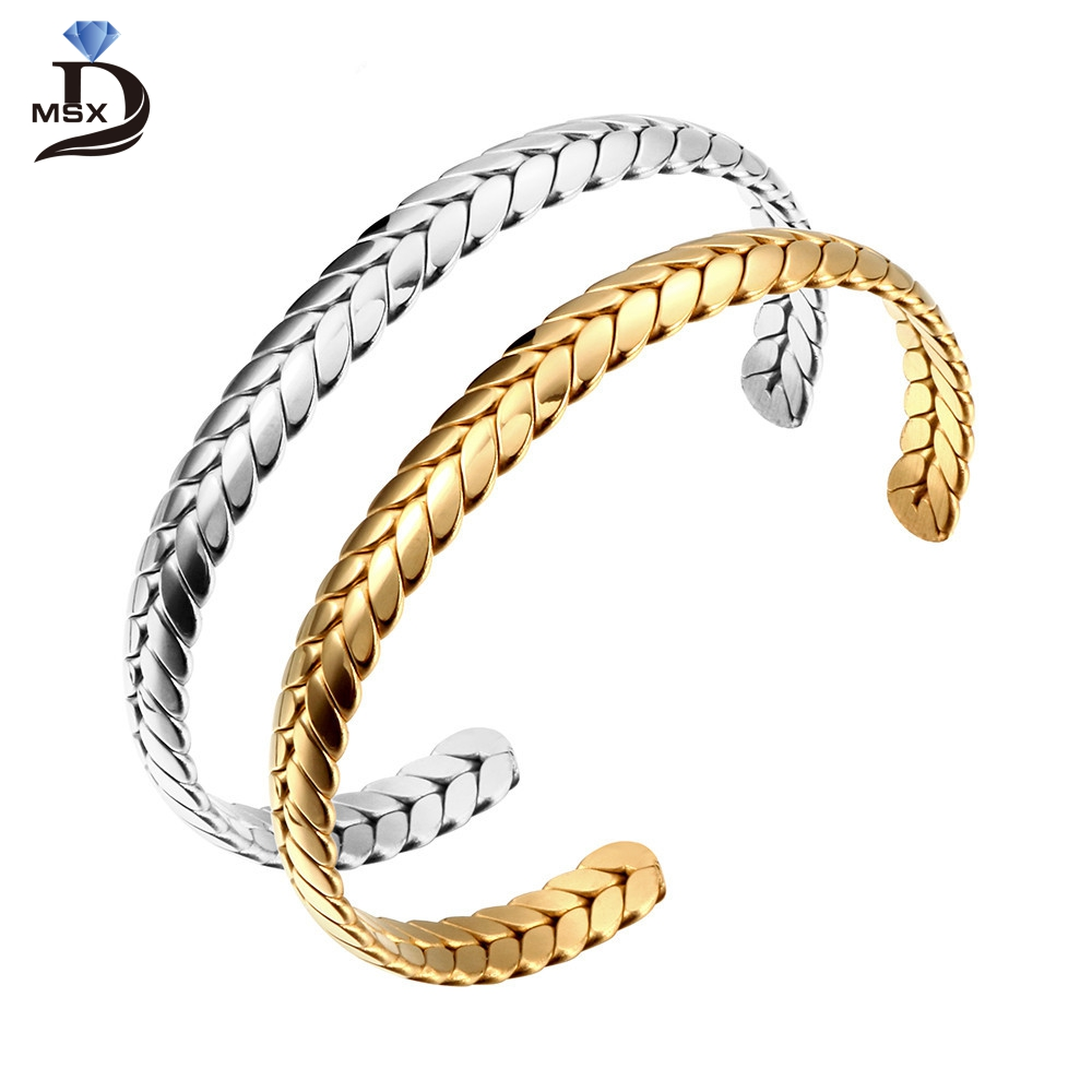 Gold Plating Cuff Bangle Lover Bracelet For Woman Man Stainless Steel Wheat Ears Charming Female Male Jewelry Wedding Party Gift
