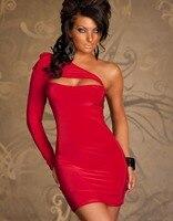 Promoción Mujeres Sexy Albornoz Vestido Clubwear 4 Color Con Estilo de Un Hombro de Split Sexy Bodycon Viste Al Por Mayor Precio W3121