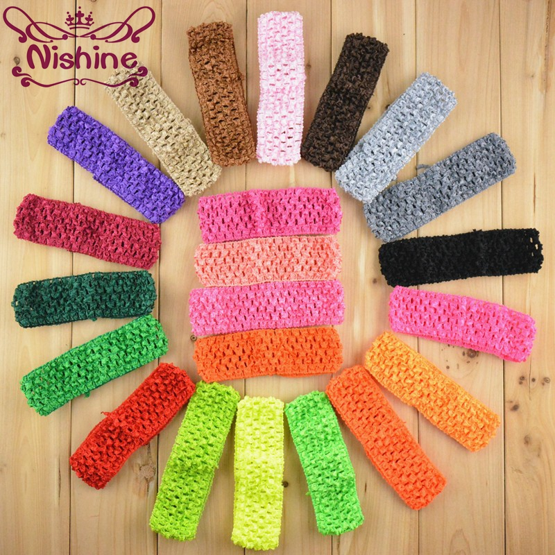 Nishine 200pcs/lot 1.5 Inch Stretchy Waffle Crochet Headbands DIY Elastic Girls Hairbands Hair Accessories