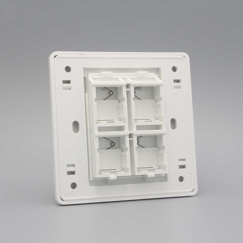 Beyaz Renk 86x86mm Boş Duvar Çıkış Paneli Faceplate Için Fit 4 Anahtar Taşları