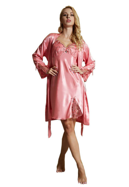 05ad9ab7fc 2017 Women Nightgown 2 Pieces Sets Robe Skirt Spring Gowns Suits 2pcs Women  Pajama Sets Sleepwear Lady