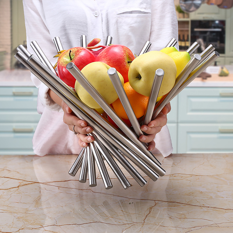 12pcs/lot Full Stainless Steel Vortex Fruit Rack Tray Holder Bowl Creative Fruit Folding Basket Plates Modernism Home Decor