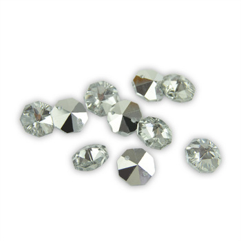 50pcs Colorful Sliver Back Crystal Octagon Beads In 2 Holes 14mm For  Crystal Chandelier Parts Home Decoration 50 lot 14mm colorful crystal flower beads in 1 hole for crystal chandelier pendants home decoration jewelry making