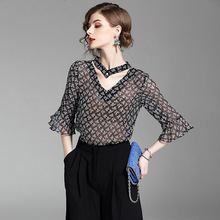 top quality women summer tops 2017 new brand runway silk butterfly sleeve three quarter blouse print fashion chiffon loose shirt