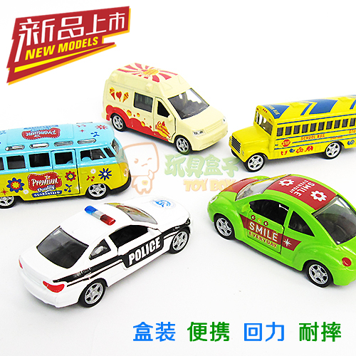 Your good friend mini alloy car bus school bus police car off-road WARRIOR toy car boxing combination set
