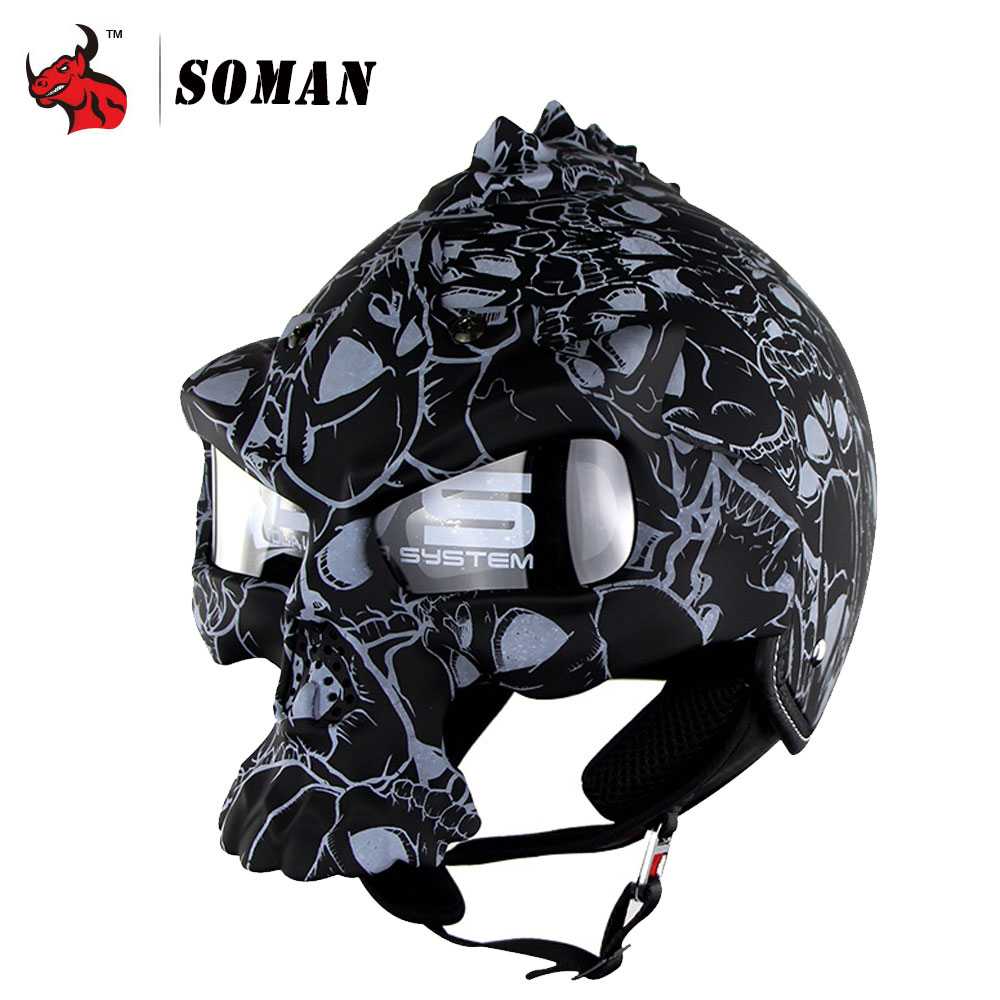 ЗОМАН личный мотоцикл шлем Ретро Мото шлем двойной линзы мотоцикл шлем летом шлем половина лицо винтажный череп