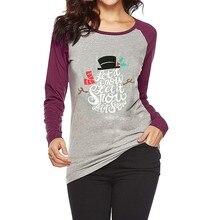 bd8721335 Plus Size 3xl Christmas t shirt Women tshirt Letter Print O Neck Long Sleeve  T- · 4 Colors Available