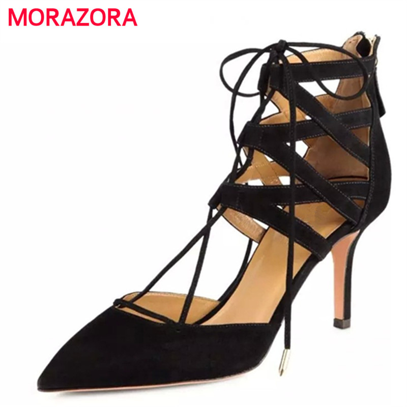 MORAZORA Kid suede zipper summer shoes pointed toe thin high heels shoes woman solid sexy women pumps fashion size 34-40 plus size 2017 new summer suede women shoes pointed toe high heels sandals woman work shoes fashion flowers womens heels pumps