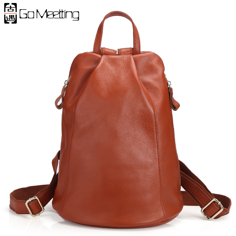 Go Meetting Women Genuine Leather Backpack Brand Ladies Fashion Backpacks For Girls School Bags Real Leather Travel Bags Mochila go meetting fashion women waterproof oxford backpack famous designers brand shoulder bag leisure travel backpacks for girl