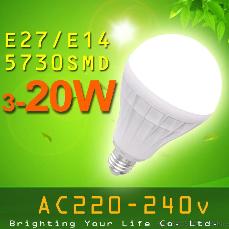 E27 high power 220V led bulb lights SMD5730 led bulb lamp Warm White/ white 3W 5W 7W 9W 12W 15W 5730 SMD E14 lampada led