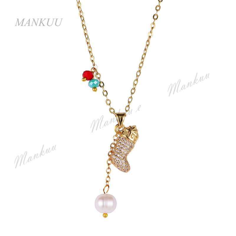 Christmas Boots Shape Zircon Micro Pave Sweater Chain Necklace Pearls Pendant Long Necklace Statement Women Fashion Jewelry Gift
