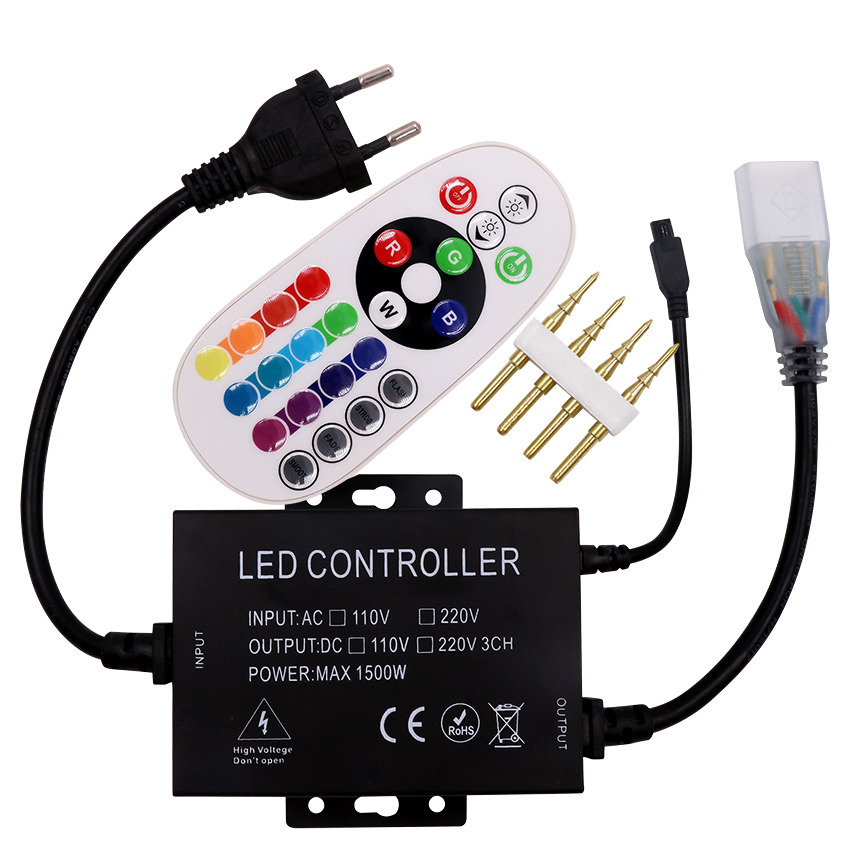 220V/110V Led RGB Controller 1500W  With 24key IR Remote Dimmer US Plug / EU Plug/AU Plug/UK Plug 8mm/10mm PCB Free Shipping