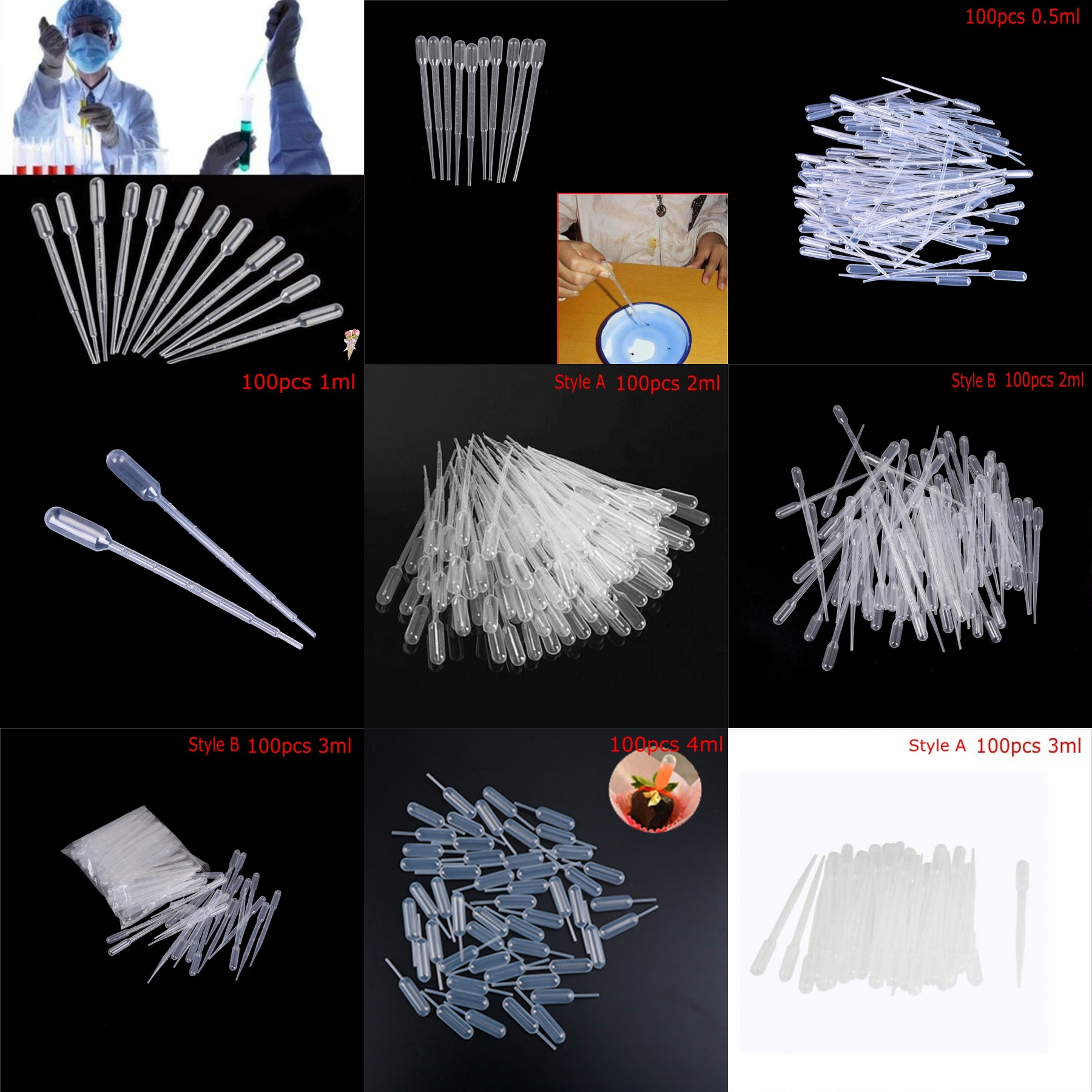 100PCS/Lot 1ML Transparent Pipettes Disposable Safe Plastic Eye Dropper Transfer Graduated Pipettes Eye For School Lab Supplies