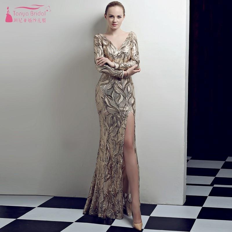 Manches longues col en V robes de demoiselle d'honneur or paillettes sirène formelle femmes robe abiye gece elbisesi robe de soirée de mariage JQ132