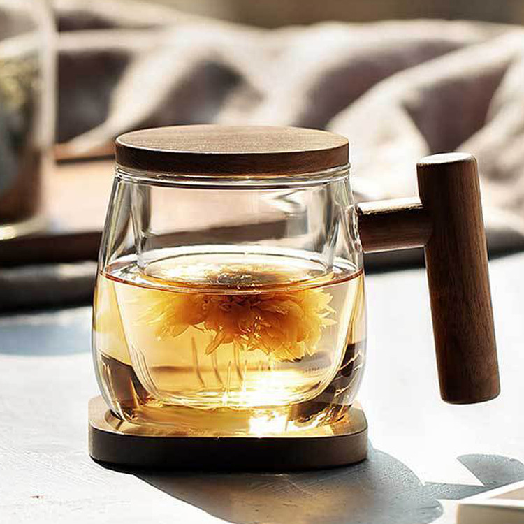 300ml Wooden Handle Borosilicate Glass Tea Cup with Lid Filter Heat resistant Tea Coffee Cup Kitchen Office Drinkware With Base