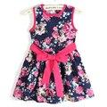 Vestido de verano 2017 vestido de la muchacha del nuevo envío libre de 3-11 años arco floral girls princess party bow Kids formal dress envío gratis