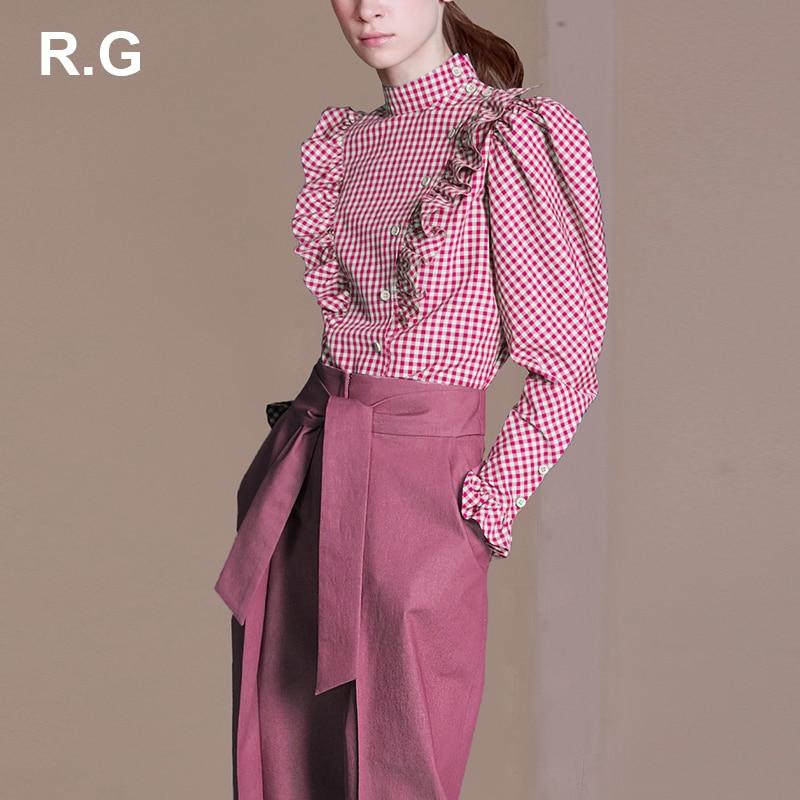 RG England Style Red Blue Plaid Shirt Tops and Blouses Fashion Ruffle Puff Long Sleeve Blouse Plus Size XL blusa feminina Autumn drawstring front ruffle plaid blouse