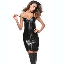 New Sexy Faux PU Dress Zipper Front Tights Leather WetLook Mini Black Straps Clubwear Bodycon Pole Dancing