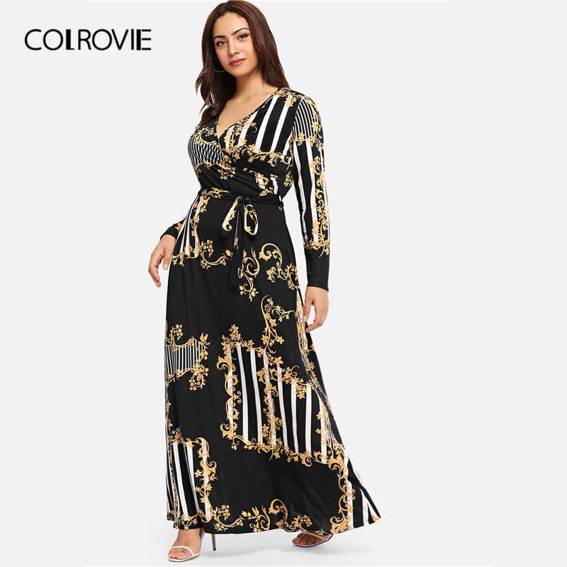 fcbfd8c75c COLROVIE Plus Size Black Mixed Print Striped Casual Dress Women 2019 Spring  Fashion Long Sleeve A