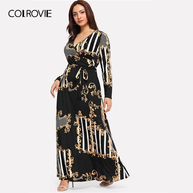COLROVIE Plus Size Black Mixed Print Striped Casual Dress Women 2019 Spring  Fashion Long Sleeve A Line High Waist Maxi Dress