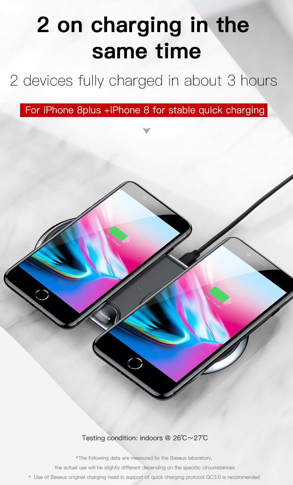 Wireless Charger of Baseus Dual For iPhone X XS Max Xr Samsung S9 S8 Note 8 9 10W Fast Wireless Charging Pad Dock Station Desktop 7
