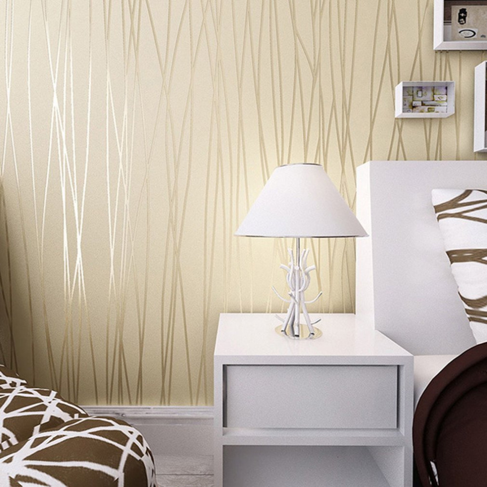 Modern 3D Feeling Background Wallpaper For Living Room White And Brown Striped Wallpaper Roll Desktop Wall Papers