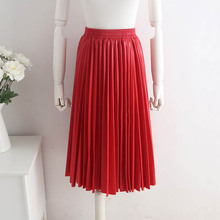 NiceMix Real Photos Pleated Chiffon Skirt Elastic Waistline A Line Floor Length Long Maxi Customized Women Skirts No Belt