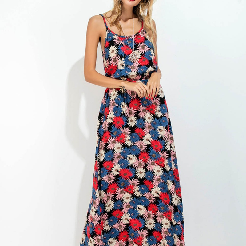 Summer Vintage Dress Women Sundress Hollow Out Boho Floral Print Maxi Dress 2017 Beach Dress Strappy Vestidos De Festa