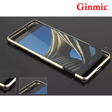 Luxury Original Brand Ginmic Aluminum Metal Bumper For Huawei Ascend Mate 7 Case Column Shape Frame With Metal Button