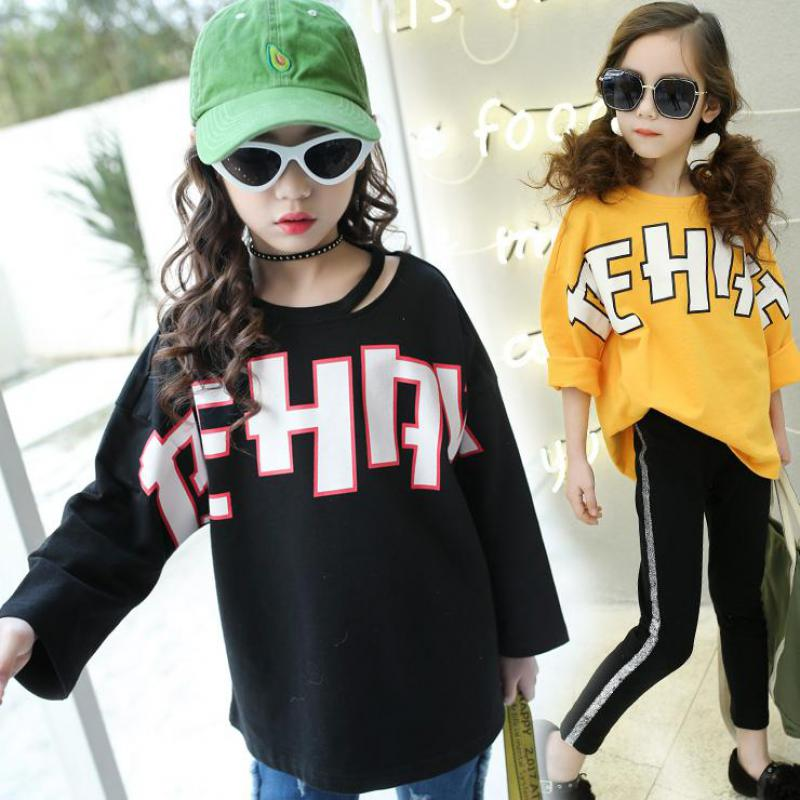 2018 Kids Long Sleeve Letter Print Tshirt Toddler Girls Shirts Baby T-shirt Sweatshirt Tee Shirt Fille Enfant Top Tees New Sale