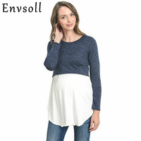 Envsoll Maternity T shirt Nursing Tops Pregnancy Blouses Maternity Clothes for Pregnant Women Breastfeeding Costume Lacation