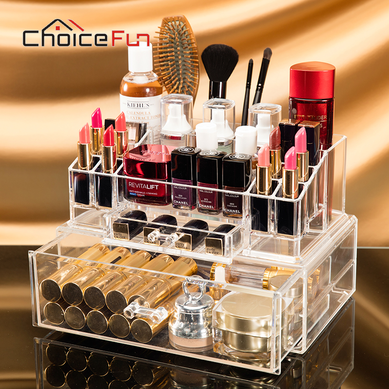 Vanity-Organizer Desk-Accessories Cosmetic-Storage Drawer Table Makeup Desktop Acrylic