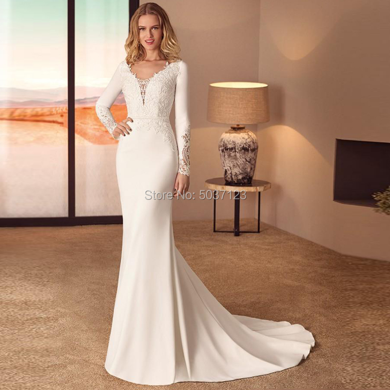 Vestidos De Noiva Satin Long Sleeves Mermaid Wedding Dresses Deep V Neck Lace Appliques Backless Bridal Gown With Court Train