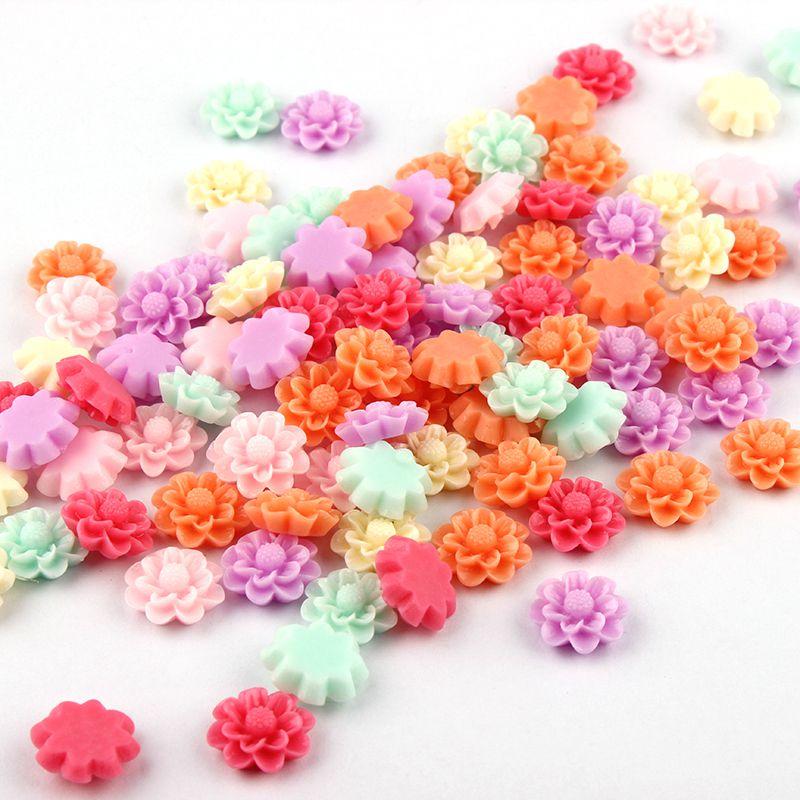 Mixed Color Mulity Style 13mm 50pcs/lot Flat Back ResinsCabochon Scrapbook, 3D Resin Rose Flower Fit Phone Embellishment