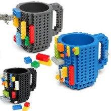 1 шт. 12 унц. Build-On кружка-конструктор Тип строительные блоки кофейная чашка DIY блок кружка-пазл переносной Стакан Кружка 4 цвета