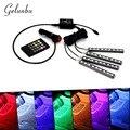 Gelunbu 12 В Автомобилей Музыка Управления RGB LED DRL Свет Автомобиля авто внутренний Свет ИК-Пульт Дистанционного Управления Декоративные Гибкие СВЕТОДИОДНЫЕ Ленты Комплект