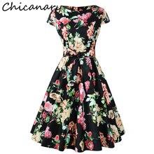 Здесь можно купить   Chicanary Floral Print Cap Sleeve Vintage Dresses with Belt Women 1950s Swing Dance Cocktail Party Dress Women