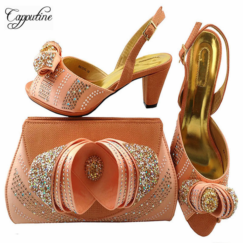 Capputine New Design Italian Woman Shoes And Bag Set African Style Spike Heels Shoes And HandBag Set For Wedding Party MM1045 new cnc billet short straight adjustable brake clutch levers for kawasaki zephyr 1100 zzr 1100 1200 zx1100 zx 11 zrx1100 1200