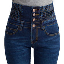 hot Long Jeans Woman Pencil Casual Blue Denim Stretch Skinny 2017 Fashion Four Buttons High Waist Jeans Pants Women Plus Size