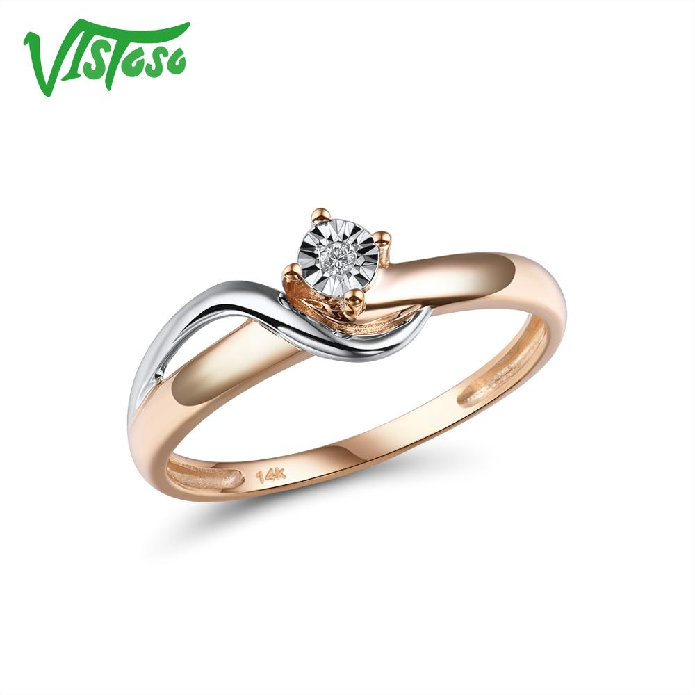 VISTOSO Pure 14K 585 Two-Tone Gold Sparkling Illusion-Set Miracle Plate Diamond Ring For Women Anniversary Trendy Fine Jewelry